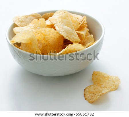Chips in a bowl - stock photo