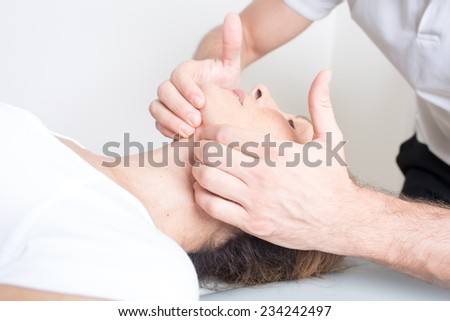 chiropractic manipulation - stock photo