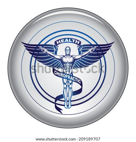 Chiropractic Symbol is an illustration of a chiropractors symbol or icon in black and white graphic style on a button. - stock photo