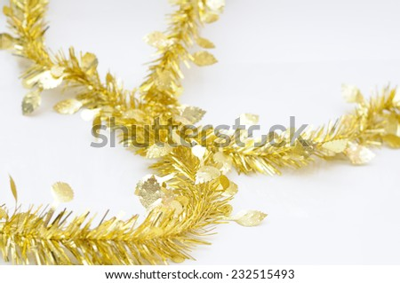 Chirstmas  golden ribbon for celebration and festival. - stock photo