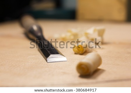 Chisel/high quality sharp tool/shavings from Japan's chisel/select a specific focus - stock photo