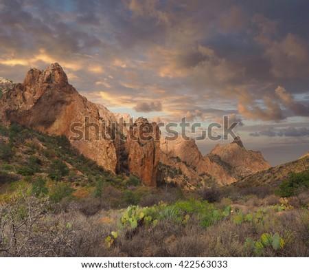 Chisos Basin at Sunset, Big Bend National Park - stock photo