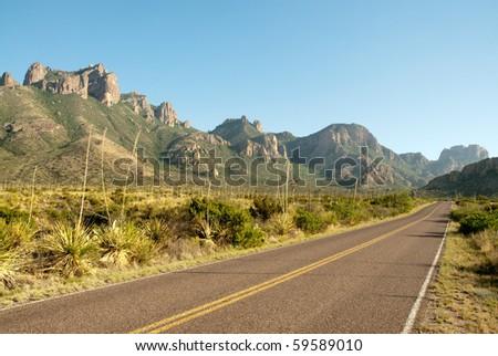 Chisos Mountains entrance road - stock photo