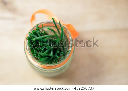 Chives closeup, top view - stock photo