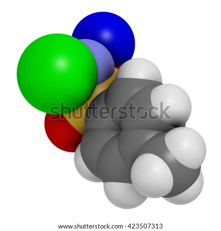 Chloramine-T (tosylchloramide) disinfectant molecule. 3D rendering.  Atoms are represented as spheres with conventional color coding: hydrogen (white), carbon (grey), oxygen (red), etc  - stock photo