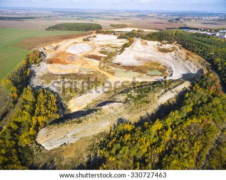 Chlumcany kaolin quarry near Pilsen in Czech Republic. Industrial landscape after mining. - stock photo