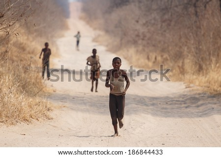CHOBE, BOTSWANA - OCTOBER 5 2013: Poor African children wander through the desert Chobe National Park. This year was declared as a drought year by the government in Botswana, Africa - stock photo