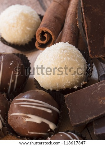 choco and coconut balls - stock photo