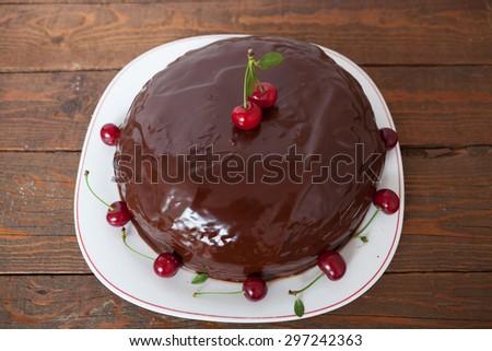 Chocolate and Cherry Cake - stock photo