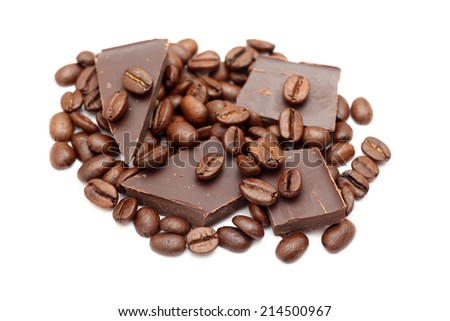 Chocolate and coffee beans closeup. - stock photo