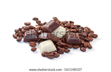 Chocolate and coffee beans on a white background - stock photo