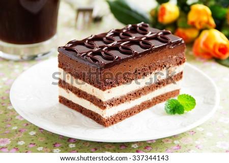 "Chocolate and coffee cake ""Opera"". - stock photo"