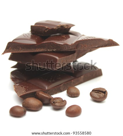 Chocolate and coffee on a white background - stock photo