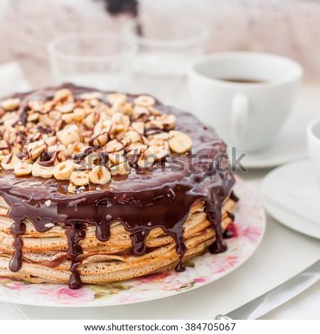 Chocolate and Hazelnut Crepe Cake, Maslenitsa, square - stock photo