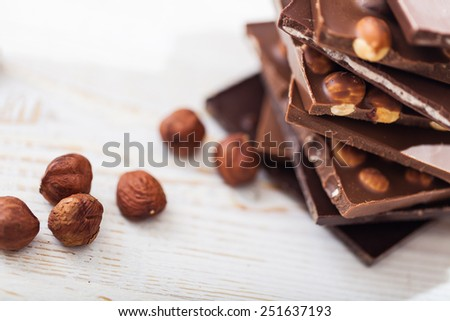 Chocolate and nuts - stock photo