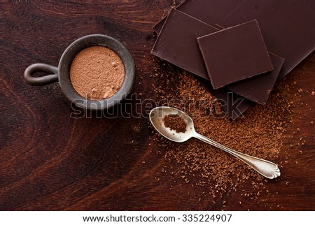 chocolate and silver spoon on a wooden background - stock photo