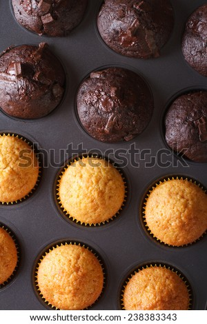 chocolate and vanilla muffins in baking dish on a table macro. vertical top view  - stock photo