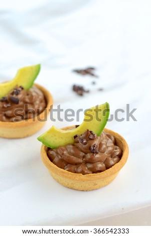 Chocolate avocado tart - stock photo