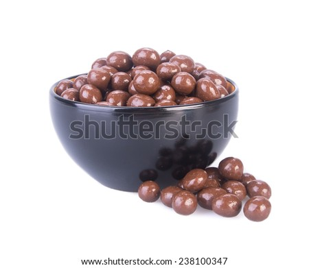 chocolate balls. chocolate balls in bowl on a background. - stock photo