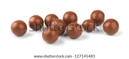 Chocolate balls on a white background - stock photo