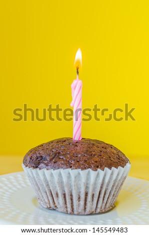 Chocolate banana cupcake - stock photo