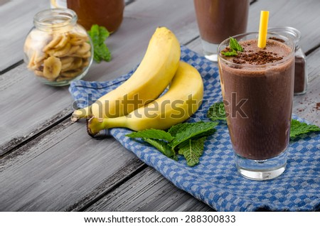 Chocolate-banana smoothie, 70 % cocoa, all natural ingredience - stock photo