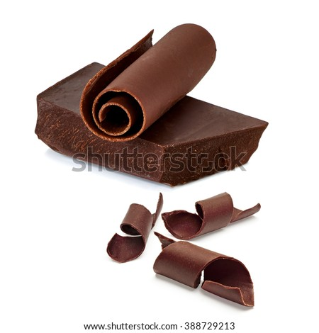 Chocolate bar and curls on white background - stock photo
