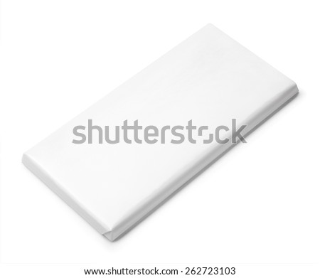 Chocolate Bar Blank Package template isolated on white background - stock photo