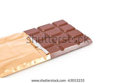 Chocolate bar in wrapper isolated on white background - stock photo