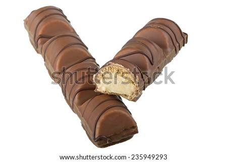Chocolate Bar Isolated On White Background with clipping path - stock photo