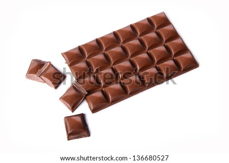 chocolate bar with broken bits - stock photo