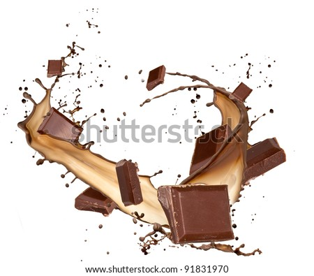 Chocolate bars in chocolate splash, isolated on white background - stock photo