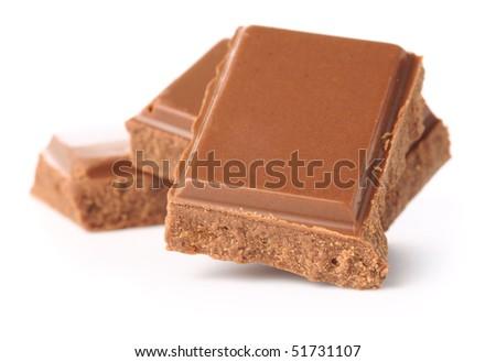 chocolate bars isolated on white - stock photo