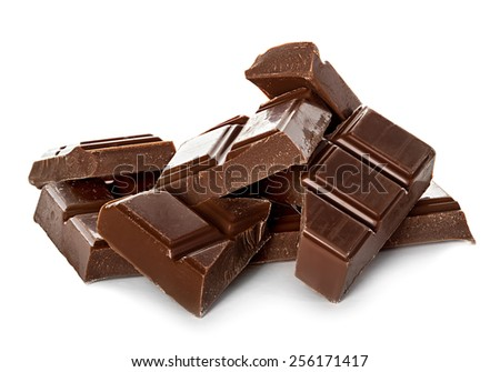 chocolate bars isolated on white background - stock photo