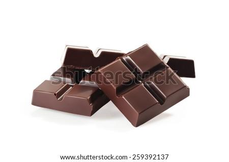 Chocolate bars stack isolated on white background - stock photo