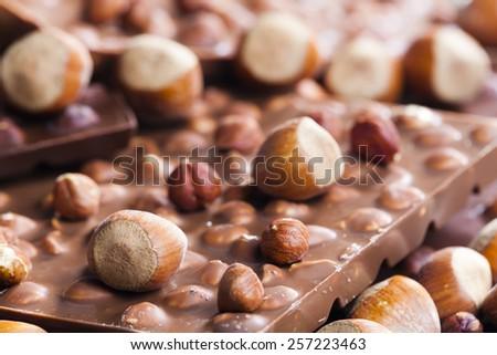 chocolate bars with hazelnuts - stock photo