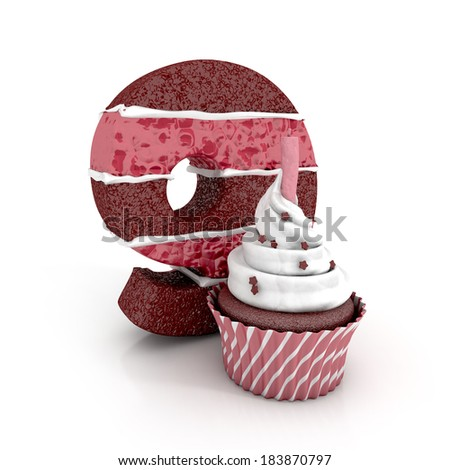 chocolate birthday cake in shape of number nine with cupcake and lit candle. 3d render. illustration isolated on white background - stock photo
