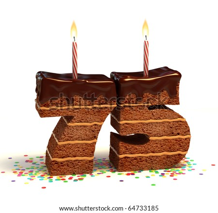 Chocolate birthday cake surrounded by confetti with lit candle for a seventy-fifth birthday or anniversary celebration - stock photo