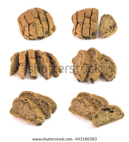 chocolate bread isolated on white - stock photo