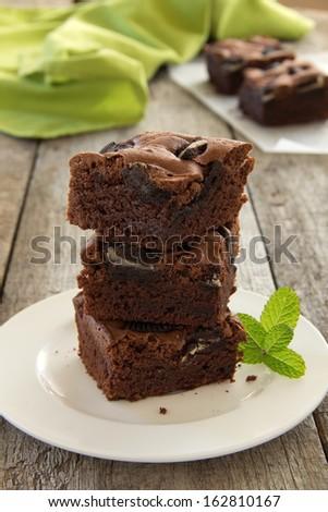 Chocolate brownie cake. - stock photo