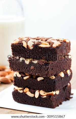 chocolate brownie with almond stack - stock photo