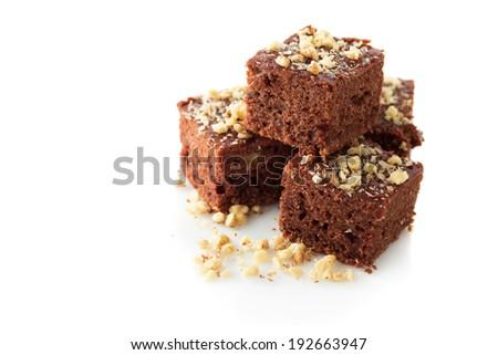 Chocolate brownies with walnut, close up - stock photo