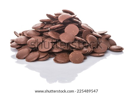 Chocolate button over white background - stock photo