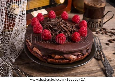 chocolate cake and Turkish coffee - vintage style - stock photo
