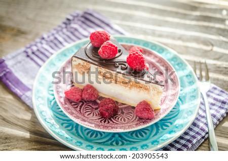 Chocolate cake decorated with fresh raspberries - stock photo