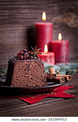 chocolate cake for christmas  - stock photo