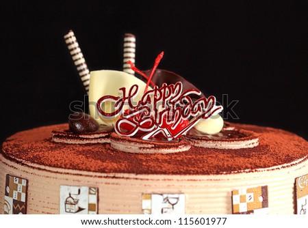 chocolate cake happy birthday - stock photo