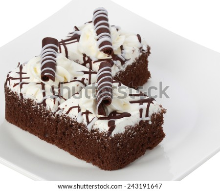 chocolate cake isolate on white background - stock photo