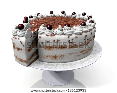 chocolate cake on a plate - stock photo