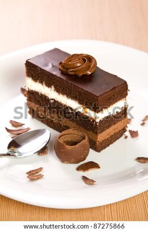 Chocolate cake on a plate - stock photo